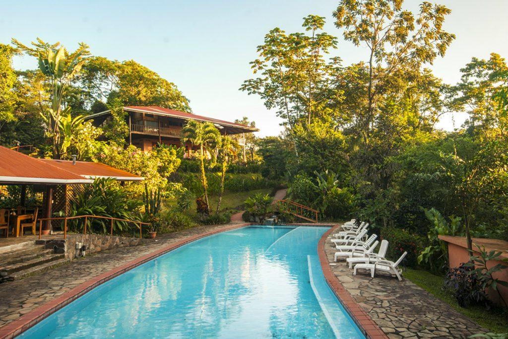 the pool at Finca Luna Nueva Lodge