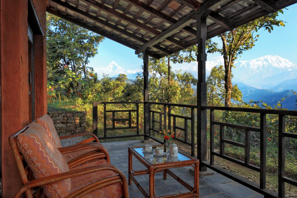 Verandah room at Tiger Mountain Pokhara Lodge in Nepal as advertised by Kiwano Hotels