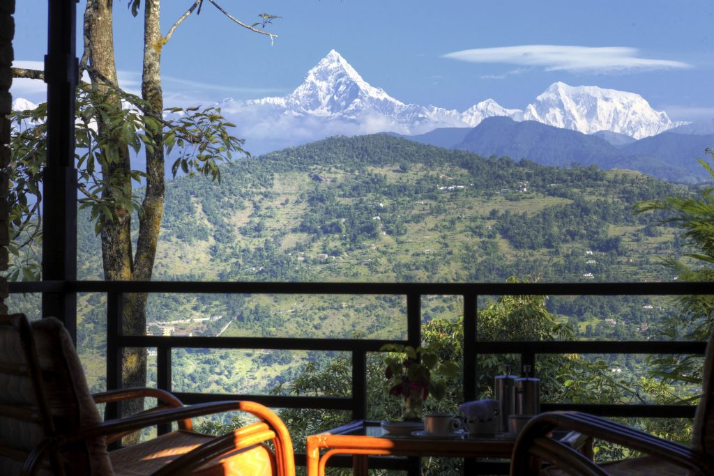 Verandah room view of the mountains at Tiger Mountain Pokhara Lodge in Nepal, Asia